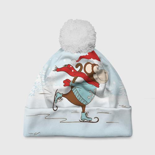 Шапка 3D c помпоном  Фото 01, Обезьяна на коньках