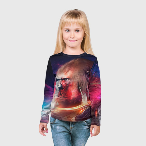 Детский лонгслив 3D  Фото 03, Обезьяна в космосе