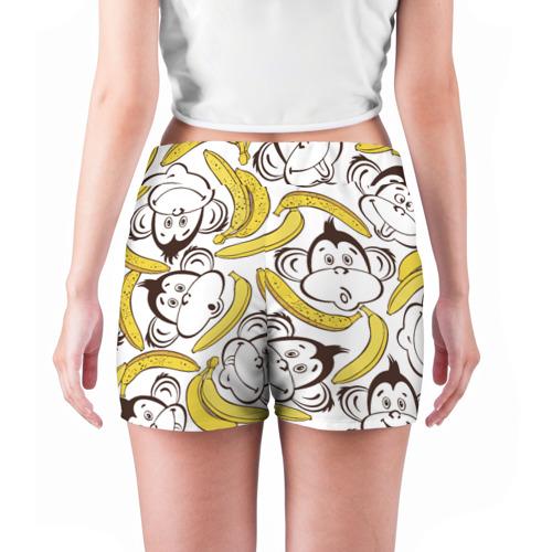 Женские шорты 3D Обезьянки и бананы Фото 01