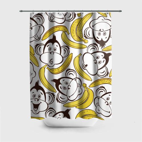 Штора 3D для ванной  Фото 01, Обезьянки и бананы