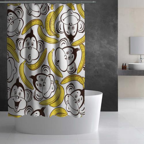 Штора 3D для ванной  Фото 03, Обезьянки и бананы
