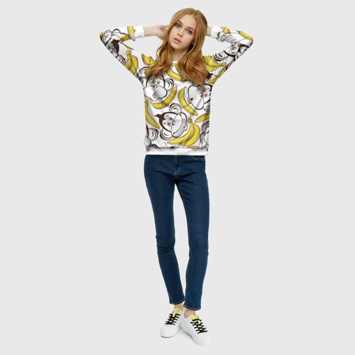 Женский свитшот 3D  Фото 01, Обезьянки и бананы