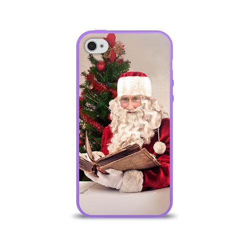Чехол для Apple iPhone 4/4S силиконовый глянцевый  Фото 01, Путин дед мороз