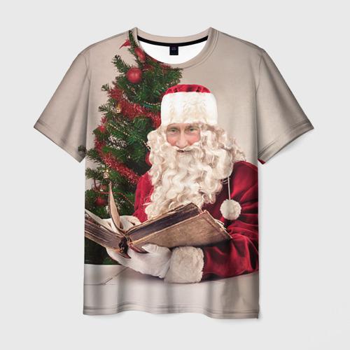 Мужская футболка 3D Путин дед мороз