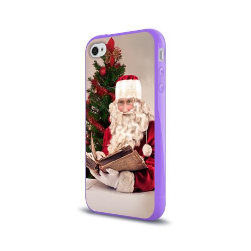 Чехол для Apple iPhone 4/4S силиконовый глянцевый  Фото 03, Путин дед мороз