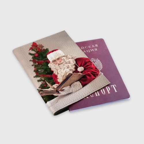 Обложка для паспорта матовая кожа Путин дед мороз Фото 01