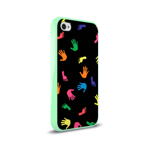 Чехол для Apple iPhone 4/4S силиконовый глянцевый Отпечатки Фото 01