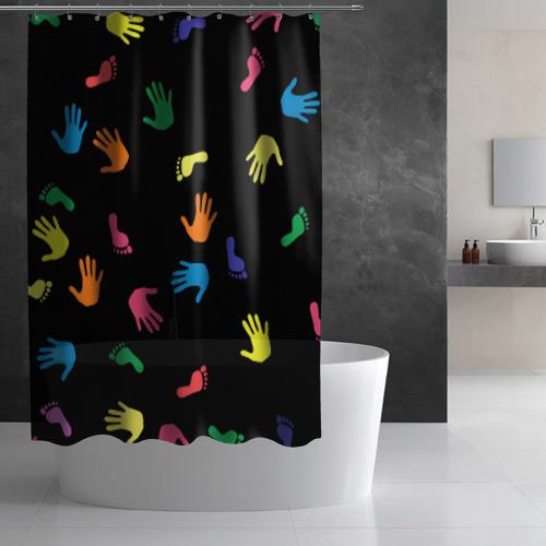 Штора 3D для ванной Отпечатки Фото 01