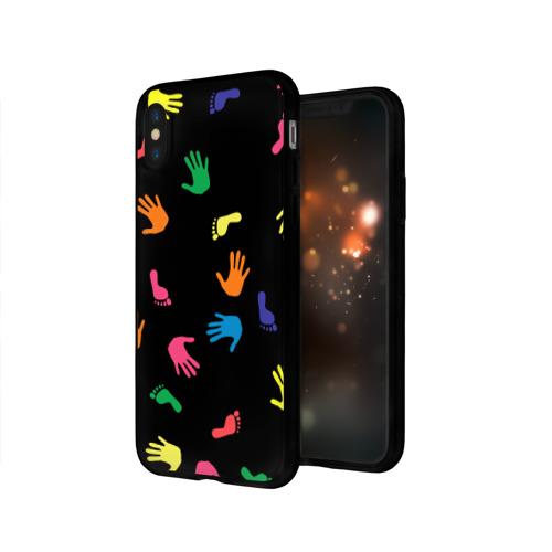 Чехол для Apple iPhone X силиконовый глянцевый Отпечатки Фото 01