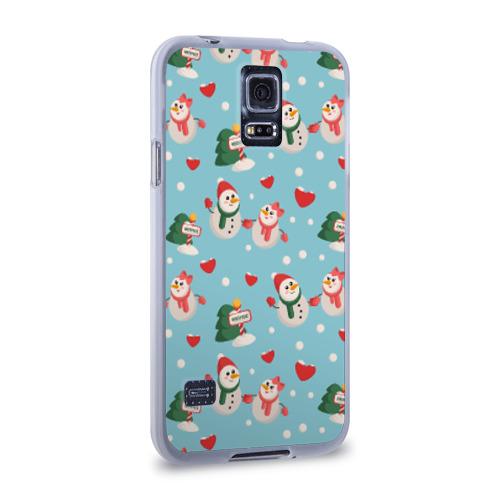 Чехол для Samsung Galaxy S5 силиконовый  Фото 02, Влюбленный снеговики