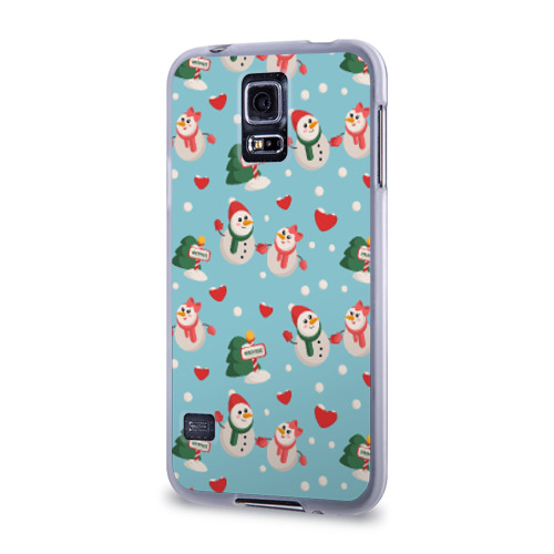 Чехол для Samsung Galaxy S5 силиконовый  Фото 03, Влюбленный снеговики