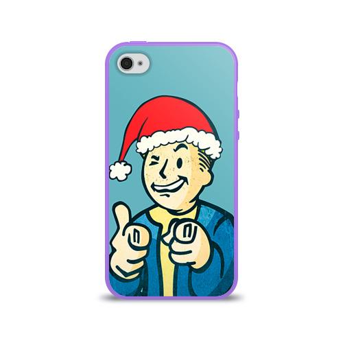 Чехол для Apple iPhone 4/4S силиконовый глянцевый  Фото 01, Новогодний Fallout