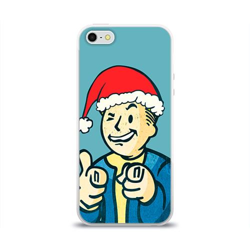 """Чехол силиконовый глянцевый для Apple iPhone 5S """"Новогодний Fallout"""" - 1"""