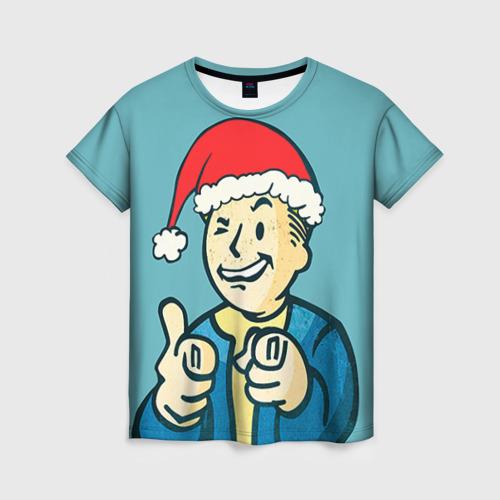 """Женская футболка 3D с полной запечаткой """"Новогодний Fallout"""" - 1"""
