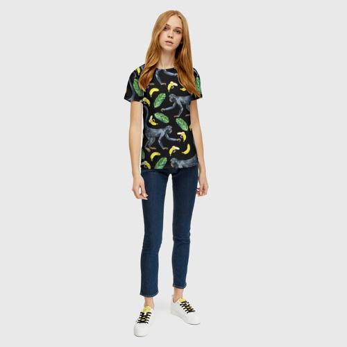 Женская футболка 3D Обезьянки и бананы Фото 01