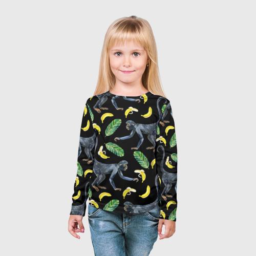 Детский лонгслив 3D  Фото 03, Обезьянки и бананы