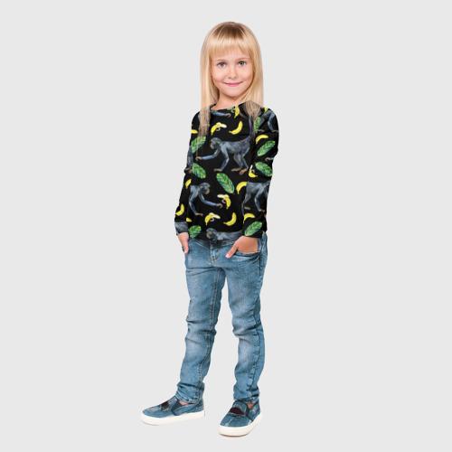 Детский лонгслив 3D  Фото 04, Обезьянки и бананы