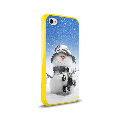 Чехол для Apple iPhone 4/4S силиконовый глянцевый  Фото 02, Снеговик