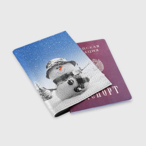 Обложка для паспорта матовая кожа  Фото 03, Снеговик