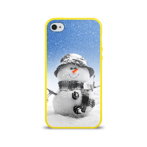 Чехол для Apple iPhone 4/4S силиконовый глянцевый  Фото 01, Снеговик
