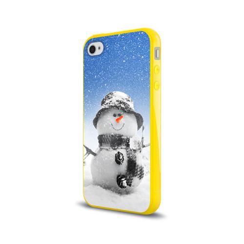 Чехол для Apple iPhone 4/4S силиконовый глянцевый  Фото 03, Снеговик