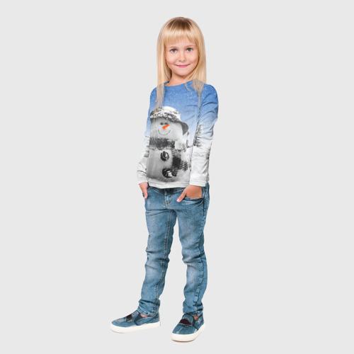 Детский лонгслив 3D  Фото 04, Снеговик