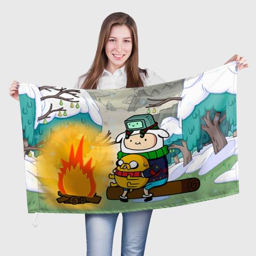 Флаг 3D  Фото 01, Фин и Джейк