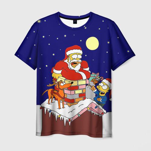 Мужская футболка 3D Новый год у Симпоснов