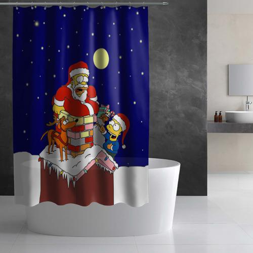 Штора 3D для ванной  Фото 03, Новый год у Симпоснов