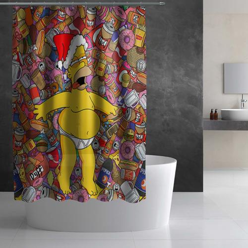 Штора 3D для ванной  Фото 03, Обжора Гомер