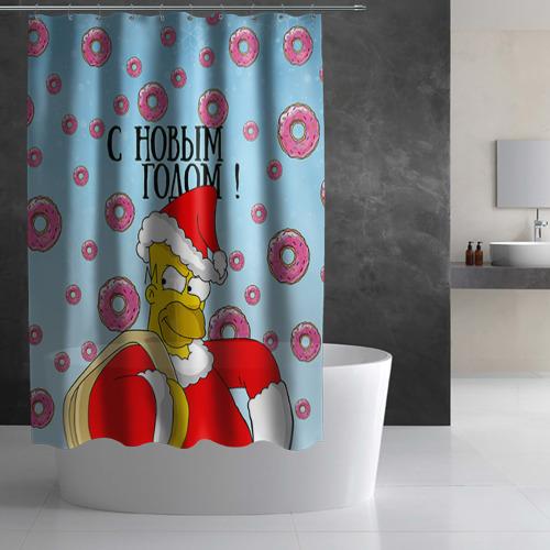 Штора 3D для ванной  Фото 03, С Новым Годом!