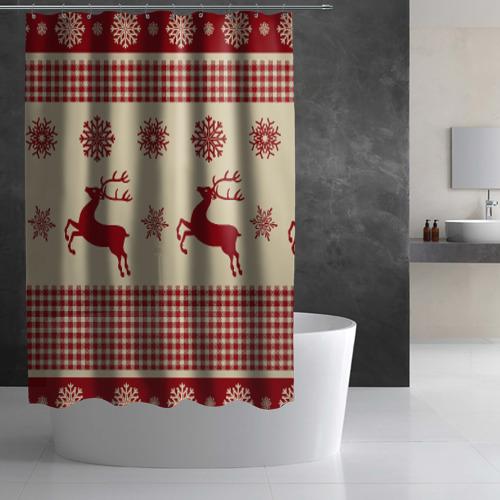 Штора 3D для ванной  Фото 02, Новый год