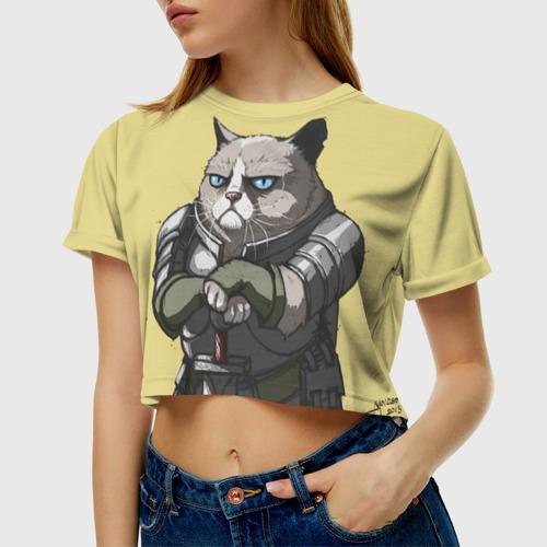 Женская футболка 3D укороченная  Фото 01, Кот