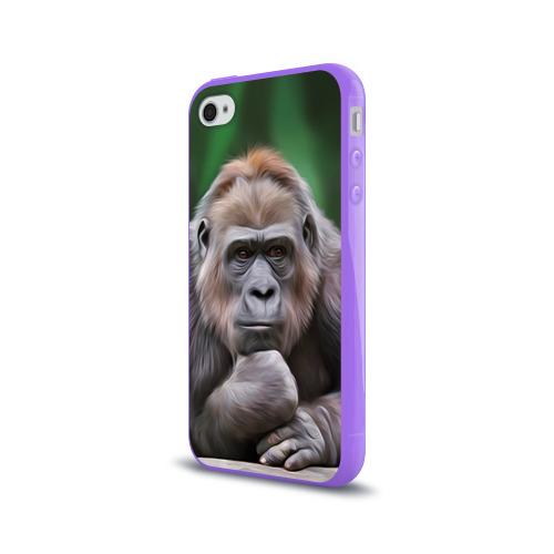 Чехол для Apple iPhone 4/4S силиконовый глянцевый  Фото 03, Обезьяна