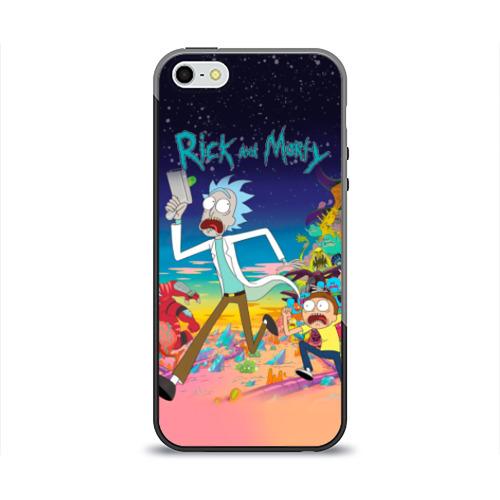 Чехол для Apple iPhone 5/5S силиконовый глянцевый Рик и Морти от Всемайки