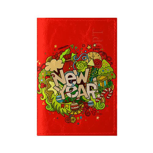 Обложка для паспорта глянцевая кожа New Year от Всемайки