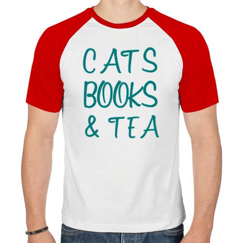 Мужская футболка реглан  Фото 01, CATS, BOOKS & TEA