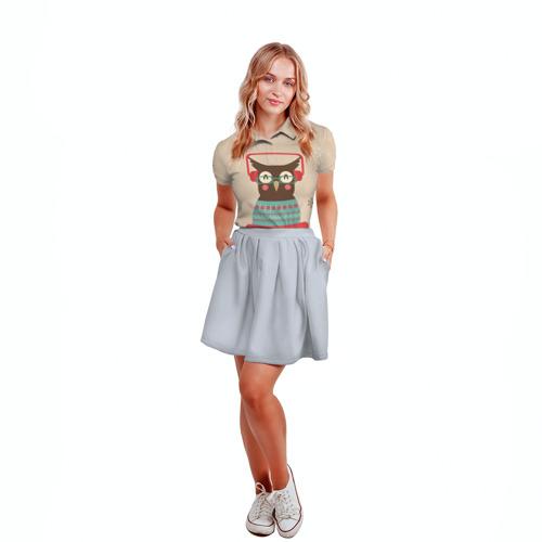 Женская рубашка поло 3D Сова в наушниках Фото 01