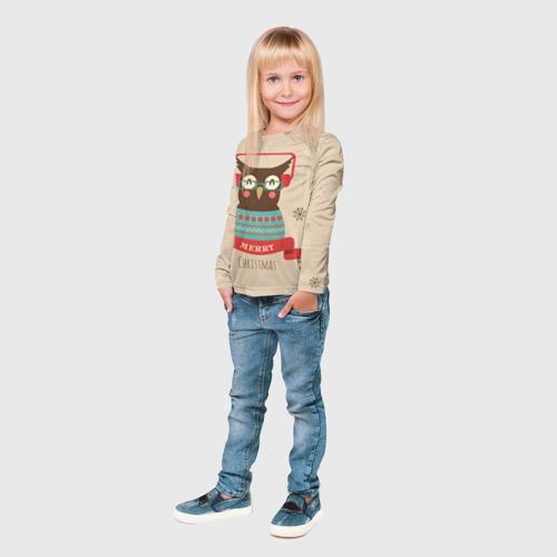 Детский лонгслив 3D  Фото 04, Сова в наушниках