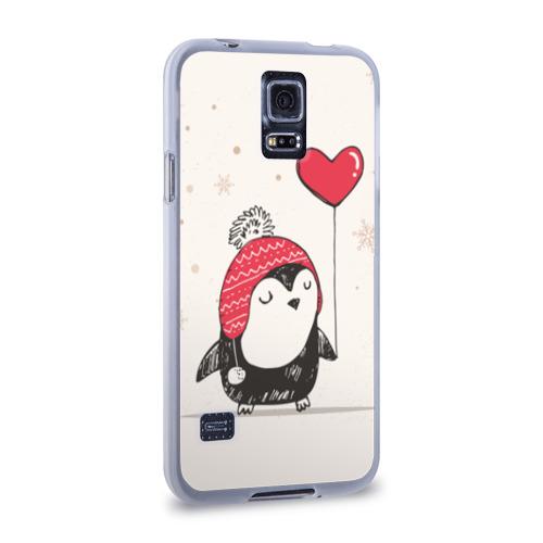 Чехол для Samsung Galaxy S5 силиконовый  Фото 02, Пингвин с шариком