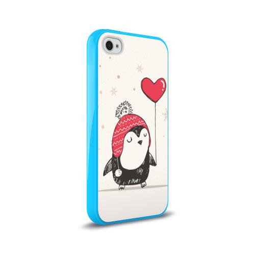 Чехол для Apple iPhone 4/4S силиконовый глянцевый  Фото 02, Пингвин с шариком