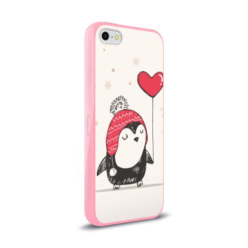 Чехол для Apple iPhone 5/5S силиконовый глянцевый Пингвин с шариком Фото 01