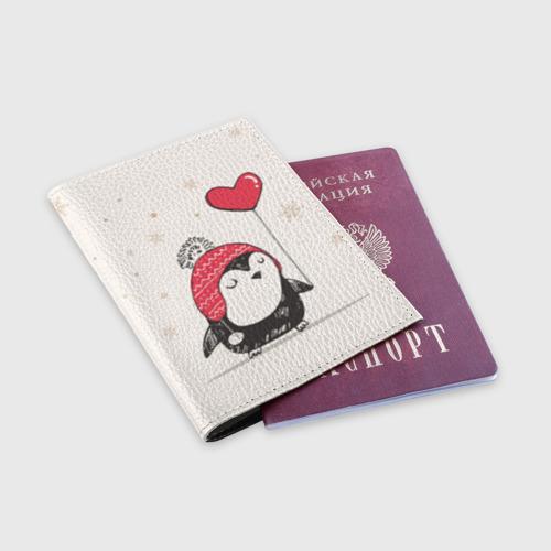 Обложка для паспорта матовая кожа  Фото 03, Пингвин с шариком