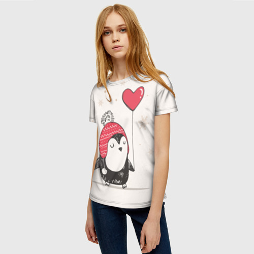 Женская футболка 3D Пингвин с шариком Фото 01