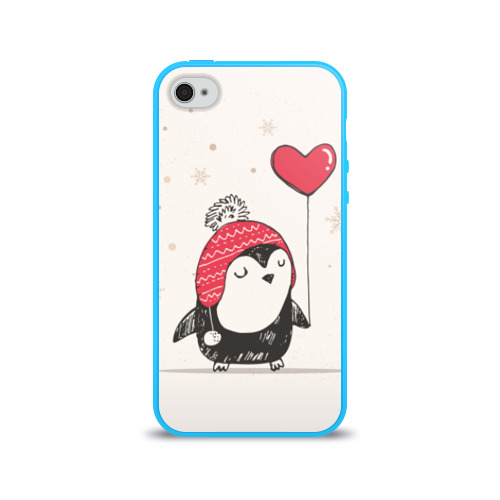 Чехол для Apple iPhone 4/4S силиконовый глянцевый  Фото 01, Пингвин с шариком