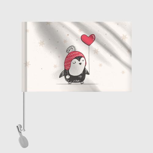 Флаг для автомобиля Пингвин с шариком Фото 01