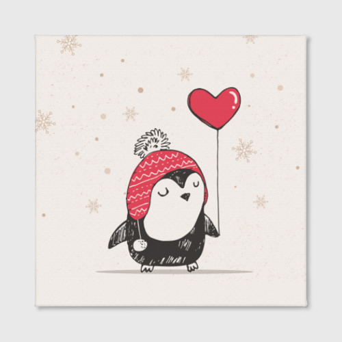 Холст квадратный Пингвин с шариком Фото 01