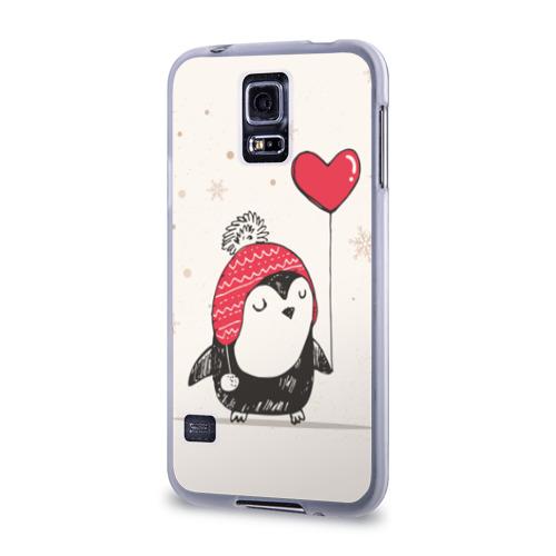 Чехол для Samsung Galaxy S5 силиконовый Пингвин с шариком Фото 01