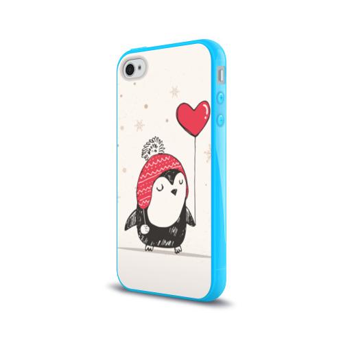 Чехол для Apple iPhone 4/4S силиконовый глянцевый  Фото 03, Пингвин с шариком