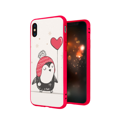 Чехол для Apple iPhone X силиконовый матовый Пингвин с шариком Фото 01